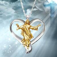 Gott Jesus Kreuz weißer Topas Halskette Gold gefüllt Anhänger Kette Choker Nett