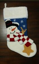 """JC Penney Home Punch Embroidery Snowman Faux Fur Cuff Stocking 18"""""""