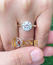14K YELLOW GOLD ROUND FOREVER ONE MOISSANITE ENGAGEMENT RING SOLITAIRE 4.00