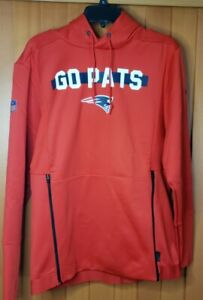 NIKE NFL  NE PATRIOTS ONFIELD APPAREL THERMA FIT HOODIE MEN SIZE S NEW W/TAGS