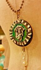 Found Object Altered Art Pendant Day of the dead Dia de los Muertos Jewelry