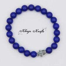 Tibetan Hamza Hand and Natural Blue Jade Gemstone Beads Bracelet