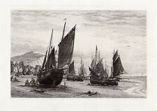"1800s JAMES DOBIE Original Maritime Etching ""Hastings, Fishing Boats"" Framed COA"
