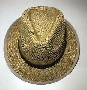 Unisex Fedora Trilby Gangster Cap Summer Beach Sun Straw Panama Hat Brown Belt