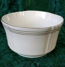 Vintage Art Deco Heathcote China Large Open Sugar Bowl Fluted White Gold