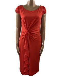 M&S Scarlet Red Ruched Waist Frill Dress Built In Shapewear Skirt UK16 Worn Once