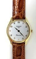 TISSOT TIS80011 Solid 18k Gold Leather Strap Women's Watch - New!