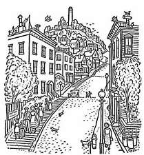 Scene - Scenery - Town - Country Road Unmounted Clear Stamp Approx 70x75mm