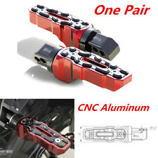 Left+Right CNC Aluminum Red Rear Motorcycle Anti-Skid Widened Foot Rest Pedal