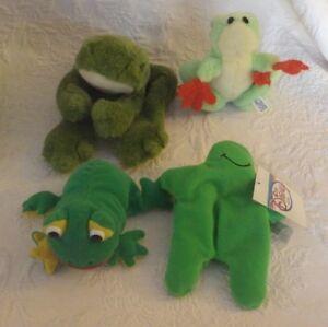 "Lot of 4 Frogs Disney Flubber Mini Bean Bag 8"" Bass Pro 12"" Long Metro 5"" Long"