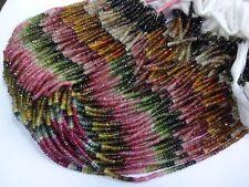 "Beautiful Micro Faceted Multi TOURMALINE Rondelle Gemstone Beads 13.5"" 10 Strand"