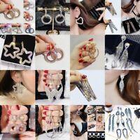925 Silver Round Hoop Earrings Crystal Geometric Womens Jewellery Party Wedding