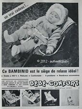 PUBLICITE BEBE CONFORT BAMBINID PLUME OU LUXE SIEGE RELAX DE 1964 FRENCH AD PUB