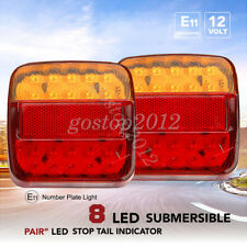 2x 12V Truck Trailer Boat LED Stop Indicator Submersible Rear Tail Brake Light