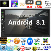 "Android 8.1 Car Stereo GPS Navigation Radio Player Double 2Din WiFi 7"" Quad Core"