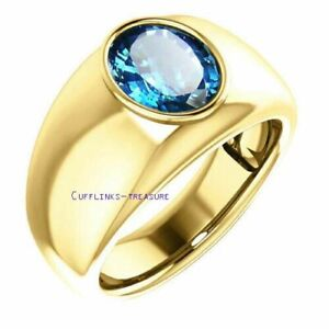 Natural Landon Blue topaz Gemstone 925 Sterling Silver Gold plated Ring