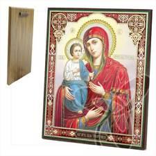 Ikone GM. Dreihändige Holz 20 x 24 икона Троеручица Богородица ikona