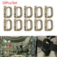 10 Pcs Tactical Molle Webbing D-Ring Carabiner Clip Webbing Backpack Buckle Snap