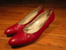 Salvatore Ferragamo Red Leather Kitten Heels 9 4a