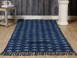 Indian Decor Bohemian Cotton Triangle Hand Block Print Indigo Blue Area Rug Rag