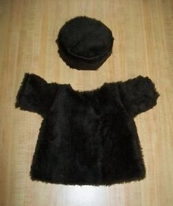 """DARK BROWN FAUX FAKE FUR HAT +COAT SET LINED for 16-17"""" CPK Cabbage Patch Kids"""