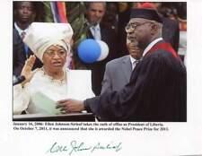 NOBEL PEACE PRIZE PRESIDENT OF LIBERIA Ellen Johnson Sirleaf autograph, signed p