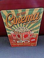 Plaque publicitaire vintage en tôle lithographiée-Retro Cinéma-Movie Nights