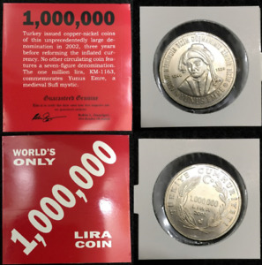 Turkey 1000000 Lira Coin 2002 - World's Only 1,000,000 Lira Coin - COA Included