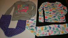 New Carter's 10 yr Girls 4 piece PJs Pajamas 2 Tops & 2 Pants Dinosaur Friend
