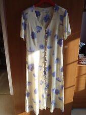 Ladies short sleeve dress by Berkertex 12 Lemon yellow with purple flowers