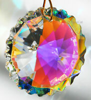 Scallop Round 50mm Austrian Crystal Clear AB Prism SunCatcher 2 inches