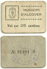 GUERRA CIVIL (NOTGELD) (ALCOVER) 25 CÉNTIMOS DE 1937 (MBC-) SIN SERIE