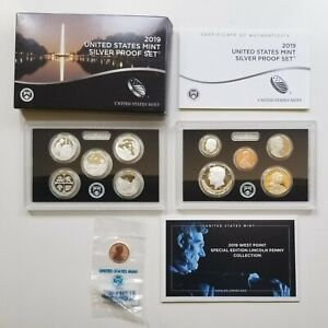 2019 U.S. MINT SILVER PROOF SET WITH COA  AND ORIGINAL BOX REVERSE PROOF PENNY!