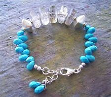 SALE!  Faceted Turquoise Briolettes & Rutilated Quartz Nuggets Sterling Silver