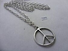 "A Peace Sign  Tibetan Silver Charm Pendant, Long ( 30"" ) Chain Necklace"