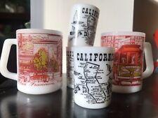2 VINTAGE FEDERAL SAN FRANCISCO CALIFORNIA MILK GLASS COFFEE MUG 3 SHOT GLASSES
