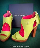 New RALPH LAUREN Collection 38.5 Uk 5.5 Green Nappa Leather GEMINA Heels Shoes