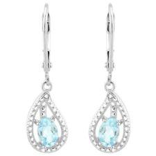 Ohrringe/Ohrhänger Elle, 925er Silber, 1,09 Kt. echter Blautopas/Diamant