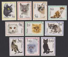 SERIE COMPLETE  10 TIMBRES Pologne CHATS DOMESTIQUES 1964 Yvert 1332/41 98M387