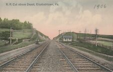 Railroad Cut above Depot Elizabethtown Pa 1906 Handcolored