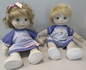 "Vintage Lot of 2 Mattel 1985 My Child 15"" Boy & Girl Doll Blonde Hair Green Eyes"