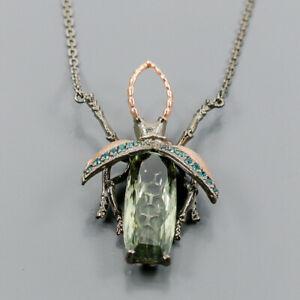 NiceIF gem 40 ct Green Amethyst Necklace 925 Sterling Silver  Length 19/N05813