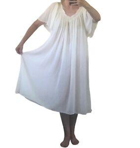 Carriage Court Vtg Caftan MuMu Dress 1X Beige Gauze Cotton Short Sleeve Greece
