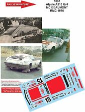 DECALS 1/24 REF 1037 ALPINE RENAULT A310 BEAUMONT RALLYE MONTE CARLO 1976 RALLY