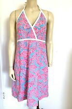 LILLY PULITZER PINK AND BLUE COTTON PRINT SUMMER DRESS sz 12