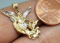 """GOLD St Saint San Michael Miguel pendant 14k yellow White Necklace charm 1"""""""