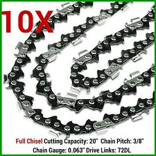 "10X CHAINSAW CHAIN FULL CHISEL 3/8 063 72DL FOR 066 MS660 034 038 STIHL 20"" BAR"