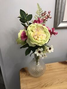 Silk English Rose & Pansy In Glass Ball Vase. Ideal Gift For Mothers Day.