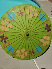 Vintage Japanese Asian Rice Paper Bamboo Umbrella flowers.