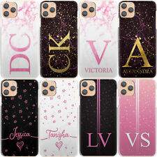Personalised Initial Phone Case, Name Pink Star Marble Hard Cover For Samsung A